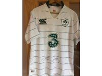 IRFU Canterbury Ireland Rugby Shirt signed by Stephen Ferris (Size Large) unworn, unwanted gift.
