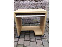 Small oak veneer computer desk with pullout shelf