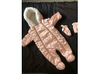 Beautiful 0-3 winter suit with matching mittens