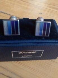 men's designer cufflinks - blue (DUCHAMP)