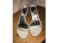 Silver and crystal Clarks sandals size 6