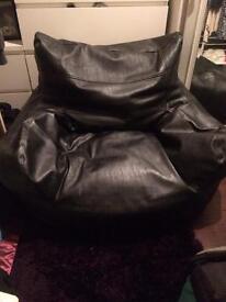 Leather beanbag armchair