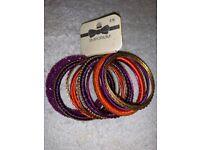 New Ladies 14 Bangle Set Purple / Orange / Gold IP1