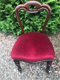 3 vintage solid wood upholstered chairs with castors