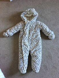 Snow leopard pram suit size 9-12 months