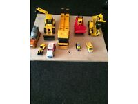 KIDS TOY BUILDING SITE TYPE VEHICLES AS IN A JCB/FORK LIFT/LOW LOADER TRUCK/ CEMENT TRUCK. SEE PICS