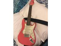 Encore Pink electric guitar with amp