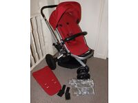 QUINNY BUZZ XTRA 2015 -Red Rumour with extras:newborn insert,raincover&adaptors