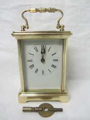 Antique French Brass Cased Carriage Clock c1890-1910 Working, with Key