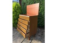 VINTAGE Chest Of Drawers 1970 TEAK tapered legs GENTLEMAN Chest