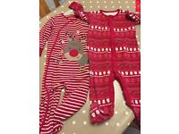 Christmas sleepsuits size 12-18 months