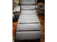 Leather Chaise Longue - Furniture Village Immaculate Elephant Grey RRP
