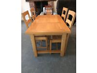 Marks and spencer solid oak table with 4 chairs