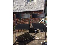 2 Matt Black Folding Chairs