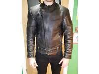 Men's Leather Biker Jacket - L