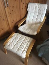 Ikea poang arm chair with footstool, rocking baby chair