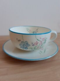 Brand New Large Contemporary Hand Printed Cappuccino Cup & Saucer
