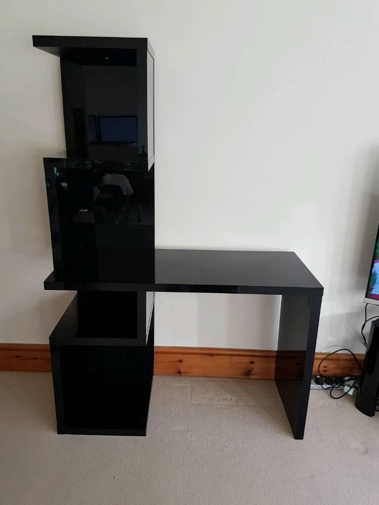 Black Gloss Computer Desk