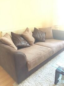 Brown half leather sofa from non smoking household
