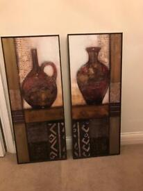 2 paintings in wooden frame