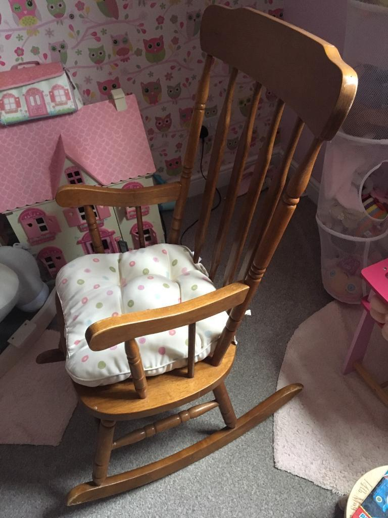 best website 2bc46 8fdba Wooden rocking chair with cushion   in Metheringham ...
