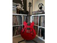 Epiphone studio dot guitar, stand, capo and strap