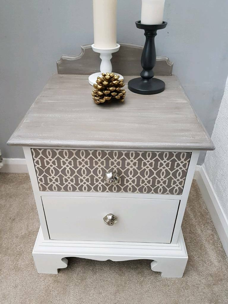 Bedside cabinet table solid wood hand painted Upcycled