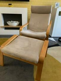 IKEA poang chair and footstool. Sand suede feel cover, oak wood