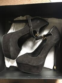Ladies Size 2 Kurt Geiger Black Suede Heels with Gold Accents- Worn Once