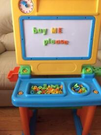 Kids whiteboard, desk and stool with magnetic letters & numbers