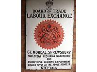 Board of Trade Labour Exchange - 67. Mordal, Shrewsbury (Enamel Sign circa 1905)