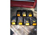 Dewalt 18v 1.3ah batteries x 7