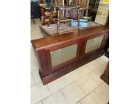 Radiator cover with brass inlays large Great quality item would enhance any home.