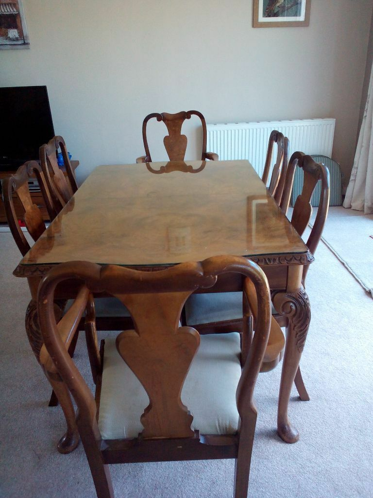 Vintage 60 S Burr Walnut Epstein Style Dining Room Suite Table Chairs Sideboard And