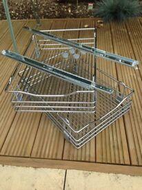 Sliding basket inserts for kitchen cupborad