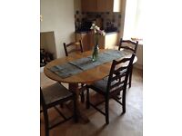 Extendable dining table and chairs country kitchen