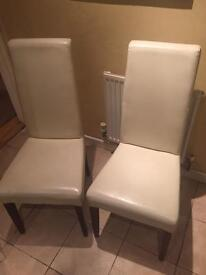 X3 cream leather dining table chairs