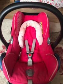 Maxi cosi pink car seat & easy base