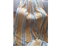 6 very heavy curtains with pencil pleat top gold blue lined