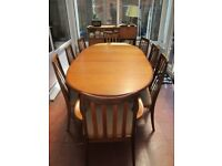 G Plan Mid Century Teak Dining Room Table, extendable oval table with 8 chairs