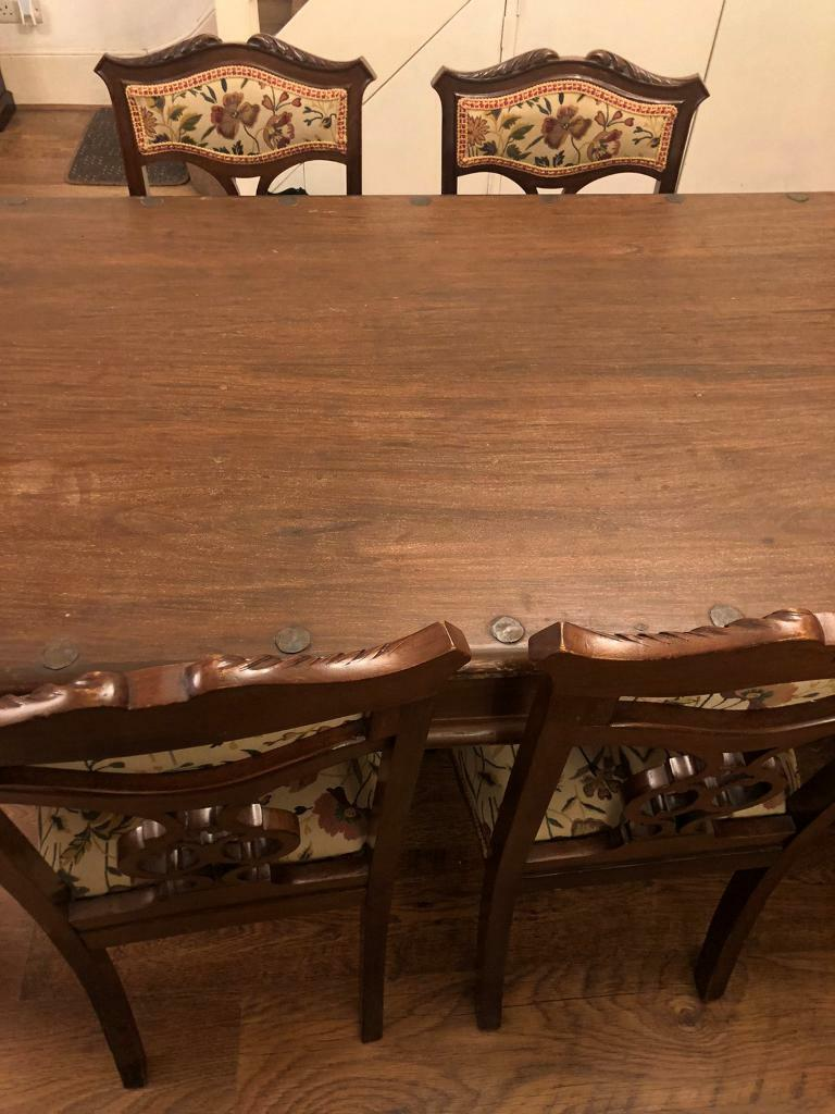 solid john lewis dining table  4 antique chairs  in