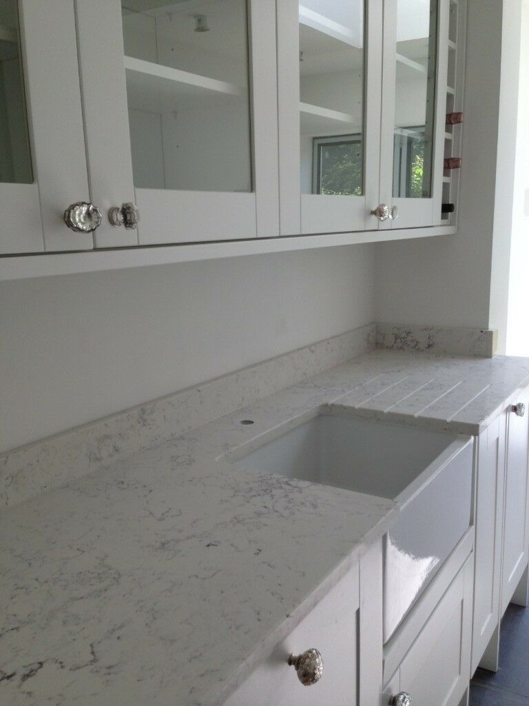 Howdens Fairford White Kitchen And Quartz Worktop
