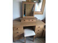 Beautiful Oak Dressing Table, Mirror & Stool