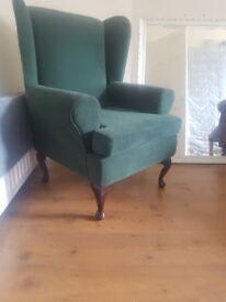 2 x high back arm chairs