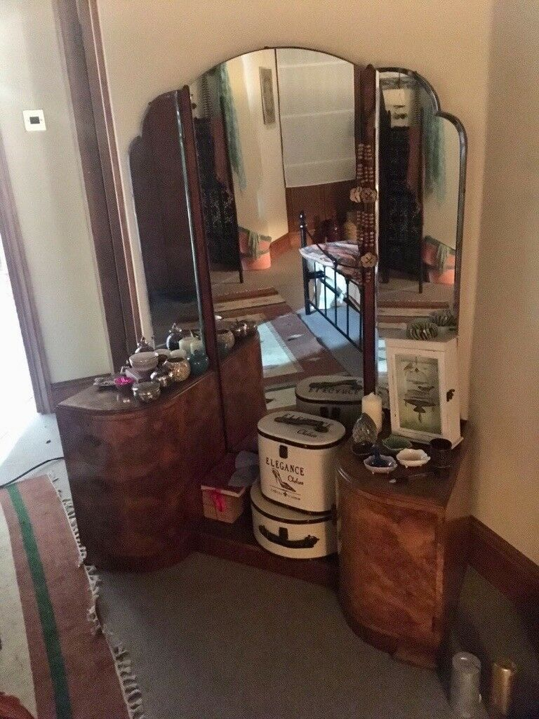 Vintage Art Deco Dressing Table With Full Length Mirror In