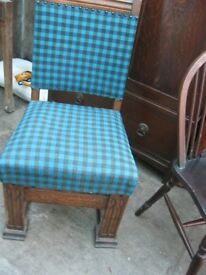 VINTAGE ORNATE OAK CHAIR, MODERN TURQUOISE TARTAN UPHOLSTERED SEATING. GOOD ORDER. DELIVERY POSS