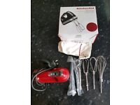 KitchenAid 9 Speed Hand Mixer Model number 5KHM9212BER 85W - Empire Red