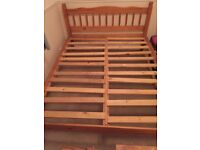 Wooden bed frame king size with mattress