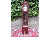 BEAUTIFUL SOLID MAHOGANY & BRASS WEIGHT DRIVEN 8 DAY STRIKING GRANDFATHER CLOCK..V.G.CONDITION