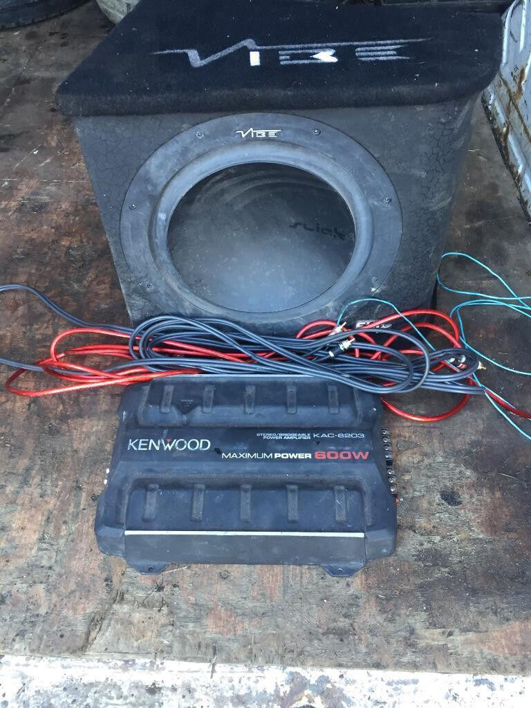 Vibe S12 Sub And Kenwood Amp 600w With Fuse Wiring Kit Fully Working